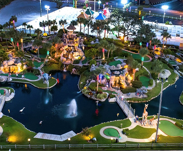 Aerial view of Coconut Creek Fun Park at dusk